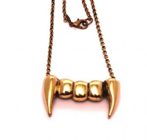 Vampire Retro Antique Copper Brass coloured teeth pendant necklace, Halloween, Gothic